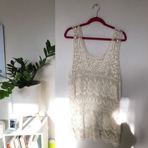White crochet beach coverup